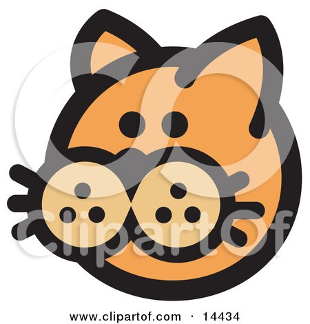 Cute Orange Cat's Face Clipart Illustration by Andy Nortnik