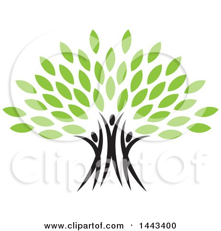 Clipart Of A Tree With Green Leaves And Three People Forming The Trunk Royalty Free Vector Illustration