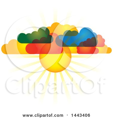 Clipart of a Sun Shining Through Colorful Clouds - Royalty Free Vector Illustration by ColorMagic