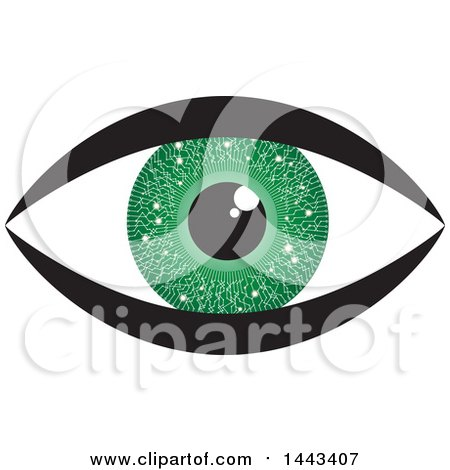 Clipart of a Green Circuit Board Eye - Royalty Free Vector Illustration by ColorMagic
