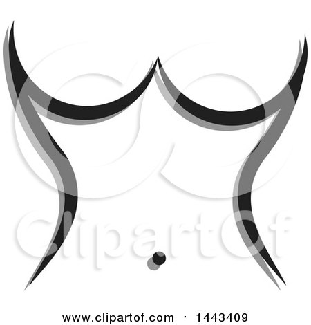 Clipart of a Woman's Torso Made of Gray and Black Strokes - Royalty Free Vector Illustration by ColorMagic