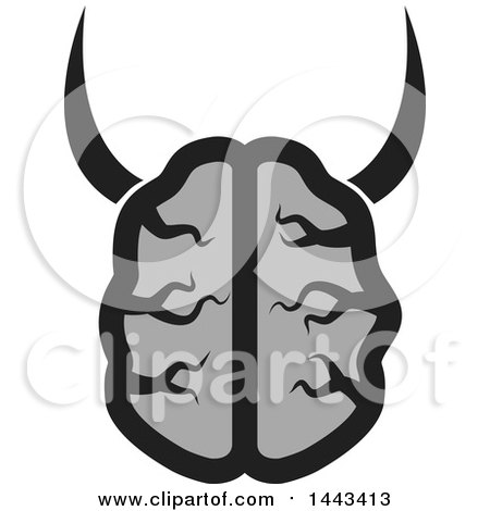 Clipart of a Gray Human Brain with Horns - Royalty Free Vector Illustration by ColorMagic