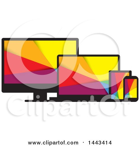 Clipart of Colorful Television, Laptop, Tablet and Cell Phone Screens - Royalty Free Vector Illustration by ColorMagic
