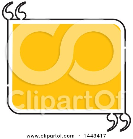 Clipart of a Yellow and Black Rectangle with Quotes - Royalty Free Vector Illustration by ColorMagic
