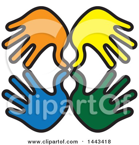 Clipart of Blue, Green, Yellow and Orange Hands - Royalty Free Vector Illustration by ColorMagic