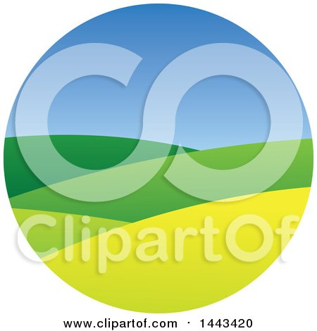 Clipart of a Hilly Landscape and Blue Sky in a Circle - Royalty Free Vector Illustration by ColorMagic