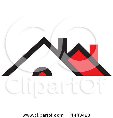 Clipart of a Red Black and White House - Royalty Free Vector Illustration by ColorMagic