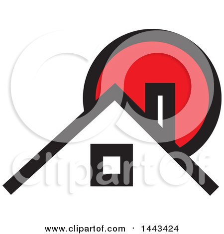 Clipart of a Red Black and White House and Sun - Royalty Free Vector Illustration by ColorMagic