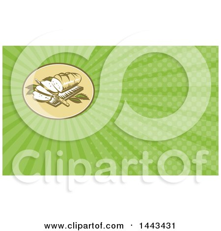 Clipart of a Retro Woodcut Loaf of Bread with Slices and Knife on a Board and Green Rays Background or Business Card Design - Royalty Free Illustration by patrimonio