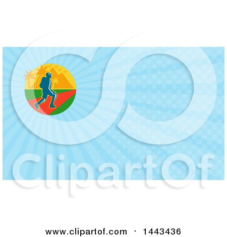 Clipart of a Male Hiker with Tropical Palm Trees and Mountains and Blue Rays Background or Business Card Design - Royalty Free Illustration by patrimonio