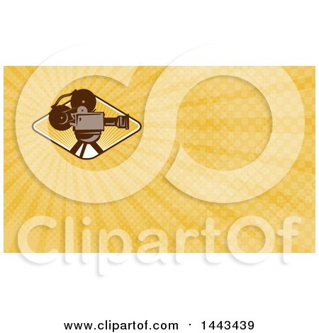 Clipart of a Retro Film Movie Camera and Orange Rays Background or Business Card Design - Royalty Free Illustration by patrimonio
