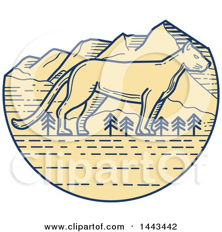 Clipart of a Mono Line Styled Cougar and Mountains - Royalty Free Vector Illustration by patrimonio