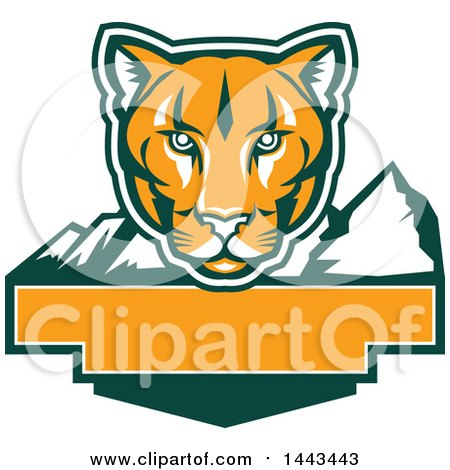 Clipart of a Retro Green, Orange and White Puma Cougar Mountain Lion Face over Mountains and a Blank Banner - Royalty Free Vector Illustration by patrimonio
