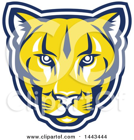 Clipart of a Retro Yellow Blue and White Puma Cougar Mountain Lion Face - Royalty Free Vector Illustration by patrimonio