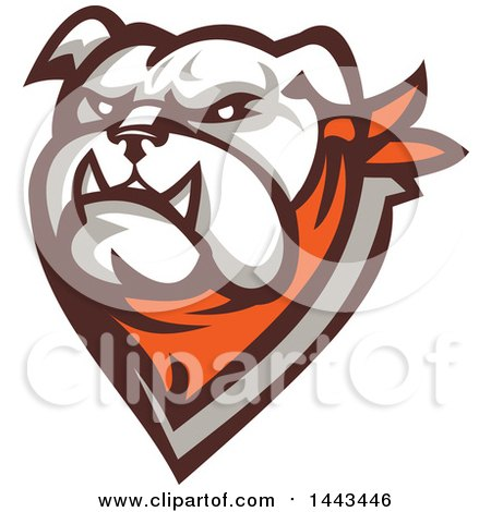 Clipart of a Retro Tough Bulldog Head with a Bandana - Royalty Free Vector Illustration by patrimonio