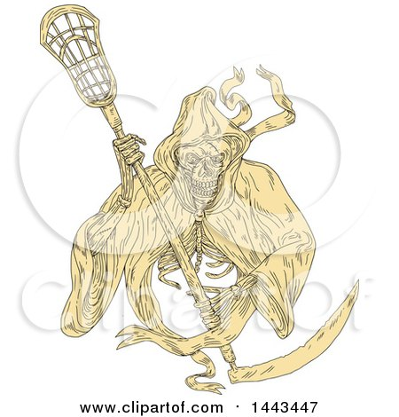 Clipart of a Sketched Drawing Styled Grim Reaper Holding a Lacrosse Stick - Royalty Free Vector Illustration by patrimonio