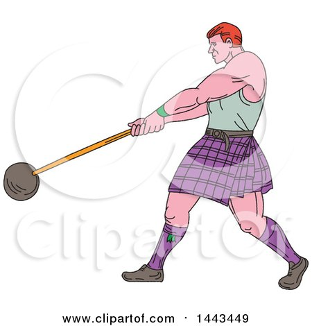 Clipart of a Sketched Drawing Styled Scotsman Athlete Wearing a Kilt, Playing a Highland Weight Throwing Game - Royalty Free Vector Illustration by patrimonio