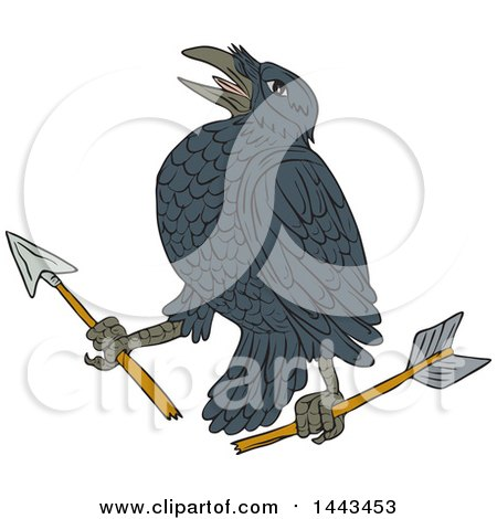 Clipart of a Sketched Drawing Styled Crow with a Broken Arrow - Royalty Free Vector Illustration by patrimonio