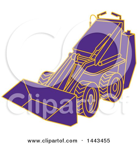 Clipart of a Mono Line Styled Purple and Orange Compact Skid Steer Machine - Royalty Free Vector Illustration by patrimonio