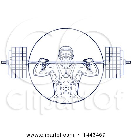 Clipart of a Mono Line Styled Strongman Lifting a Barbell - Royalty Free Vector Illustration by patrimonio