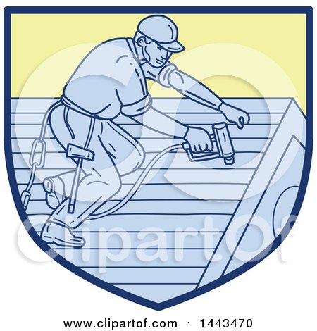 Clipart of a Mono Line Styled Roofer Using a Drill - Royalty Free Vector Illustration by patrimonio