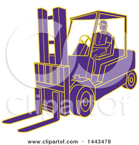 Clipart of a Mono Line Styled Purple and Yellow Man Operating a Forklift - Royalty Free Vector Illustration by patrimonio