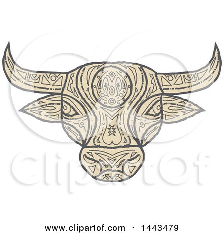 Clipart of a Mandala Styled Bull Head - Royalty Free Vector Illustration by patrimonio