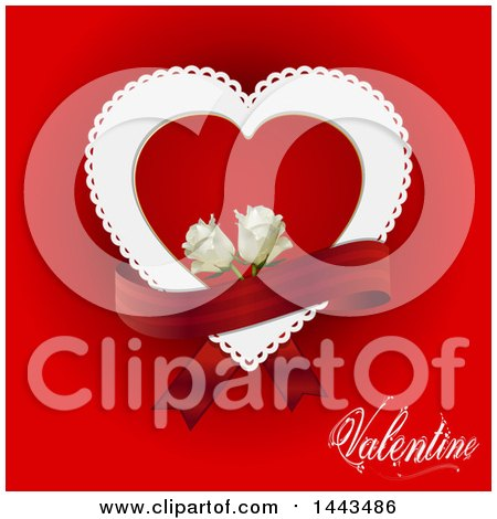 Clipart of a Doily Heart with White Roses and a Banner on Red, with Valentine Text - Royalty Free Vector Illustration by elaineitalia