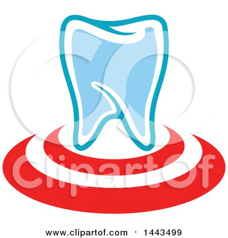 Clipart of a Red White and Blue Dental Tooth Logo Design - Royalty Free Vector Illustration by Vector Tradition SM