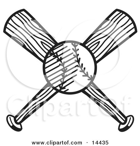 Baseball Over Two Crossed Baseball Bats Clipart Illustration by Andy Nortnik