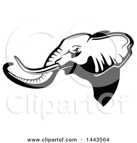 Clipart of a Black and White Profiled Elephant Mascot Head Logo - Royalty Free Vector Illustration by Vector Tradition SM