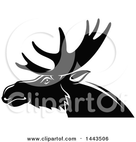 Clipart of a Black and White Profiled Elk Mascot Head Logo - Royalty Free Vector Illustration by Vector Tradition SM