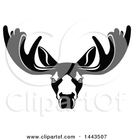 Clipart of a Black and White Profiled Elk Caribou or Moose Mascot Head Logo - Royalty Free Vector Illustration by Vector Tradition SM