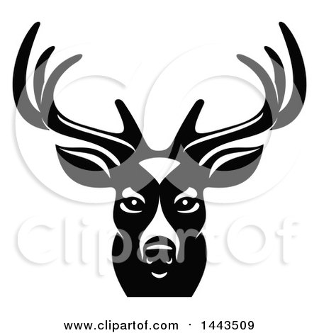 Clipart of a Black and White Buck Deer Mascot Head Logo - Royalty Free Vector Illustration by Vector Tradition SM