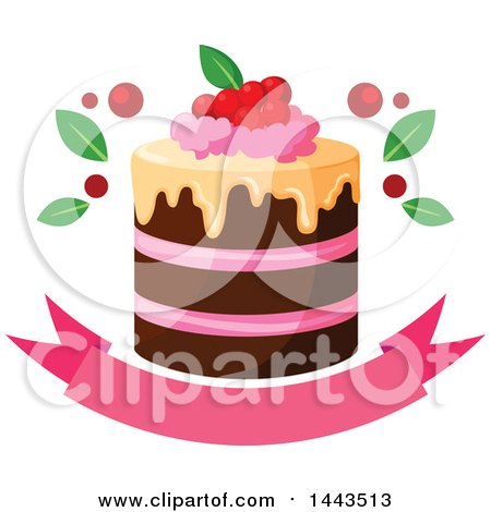 Cake Art Baner : Clipart of a Layer Cake with Berries over a Banner ...