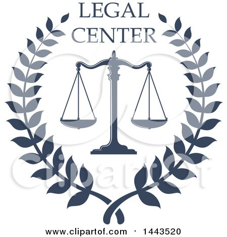 Clipart of a Blue Laurel Wreath with Scales of Justice and Legal Center Text - Royalty Free Vector Illustration by Vector Tradition SM