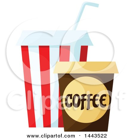 Clipart of a Fountain Soda and Takeout Coffee - Royalty Free Vector Illustration by Vector Tradition SM