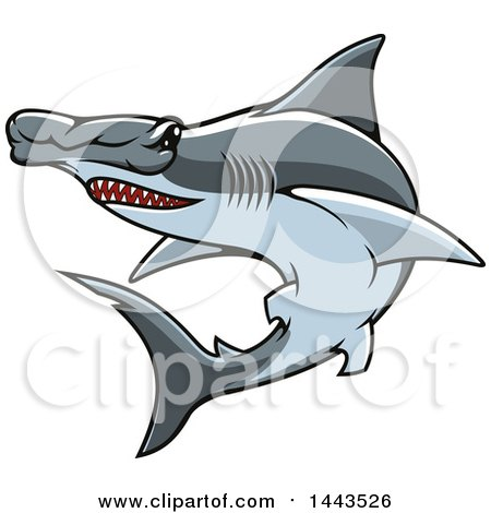 Clipart of a Tough Hammerhead Shark Mascot - Royalty Free Vector Illustration by Vector Tradition SM