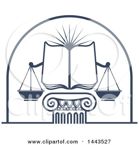 Clipart of a Blue Open Law Book, Sun and Scales of Justice over a Greek or Roman Column Pillar - Royalty Free Vector Illustration by Vector Tradition SM