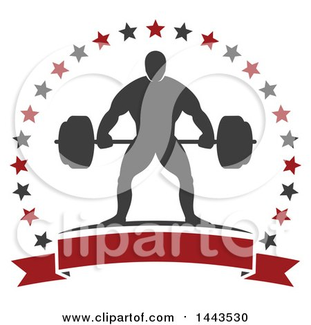 Clipart of a Silhouetted Strong Male Bodybuilder Holding a Barbell in a Frame of Stars with a Blank Banner - Royalty Free Vector Illustration by Vector Tradition SM