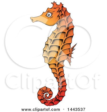 Clipart of a Gradient Orange Sea Horse - Royalty Free Vector Illustration by cidepix