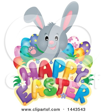 Clipart Of A Gray Bunny Rabbit With Decorated Eggs Over Happy Easter Text Royalty Free Vector Illustration