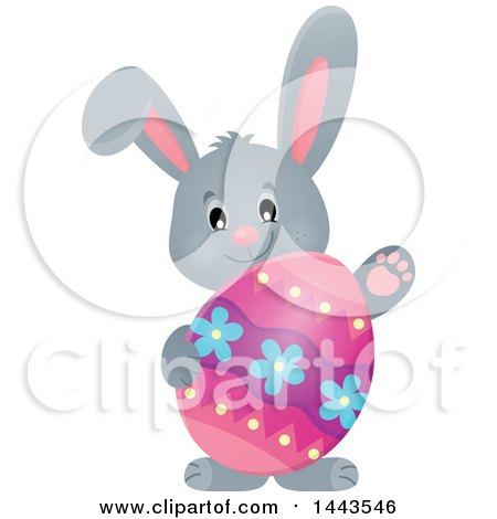 Clipart of a Gray Easter Bunny Rabbit Holding a Decorated Egg - Royalty Free Vector Illustration by visekart