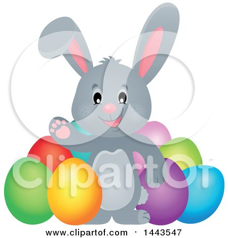 Clipart of a Gray Easter Bunny Rabbit Waving by Dyed Eggs - Royalty Free Vector Illustration by visekart