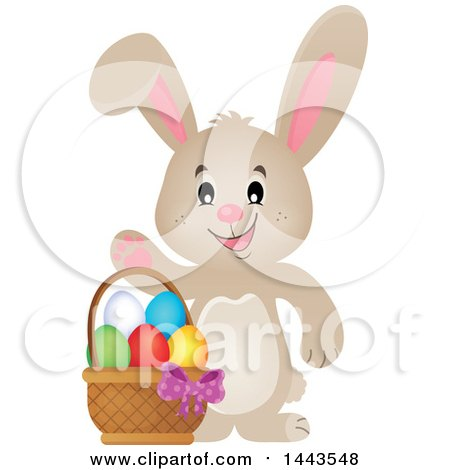 Clipart of a Beige Bunny Rabbit Waving by an Easter Basket - Royalty Free Vector Illustration by visekart