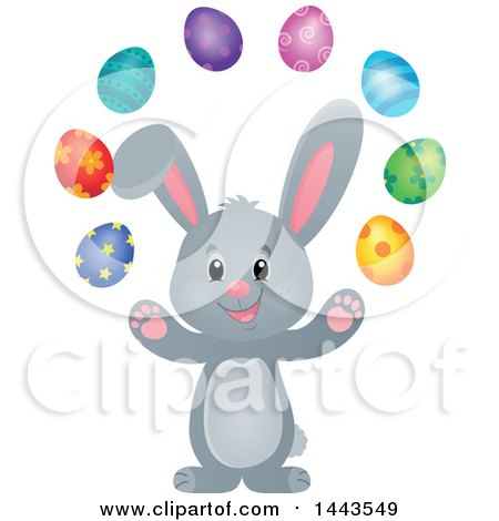 Clipart of a Gray Easter Bunny Rabbit Juggling Decorated Eggs - Royalty Free Vector Illustration by visekart