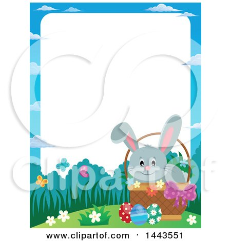 Clipart of a Border of a Gray Easter Bunny Rabbit in a Basket - Royalty Free Vector Illustration by visekart
