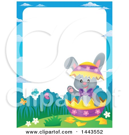 Clipart of a Border of a Gray Easter Bunny Rabbit in a Cracked Decorated Egg Shell - Royalty Free Vector Illustration by visekart