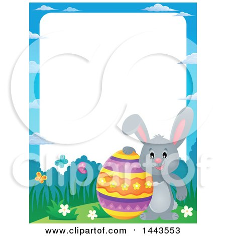Clipart of a Border of a Gray Easter Bunny Rabbit with a Decorated Egg - Royalty Free Vector Illustration by visekart