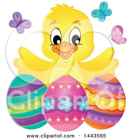 Clipart of a Happy Yellow Chick with Easter Eggs and Butterflies - Royalty Free Vector Illustration by visekart